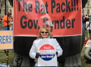 Oops: MEA member misspells Gov. Snyder's name during Lansing protest. (photo:Michael Moon)
