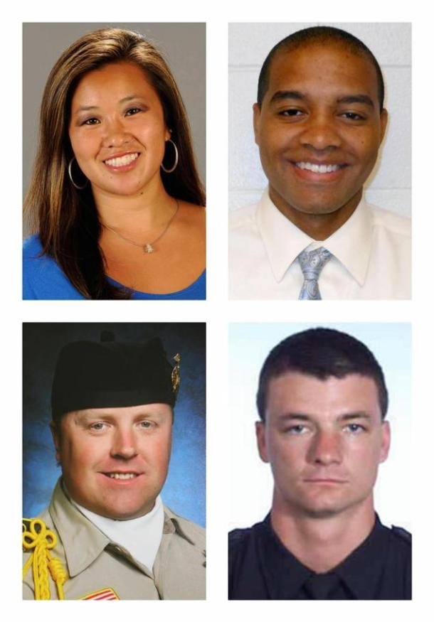 Christopher Dorner's victims (clockwise): Monica Quan, Keith Lawrence, Jeremiah MacKay and Michael Crain. Photo:The New York Daily News