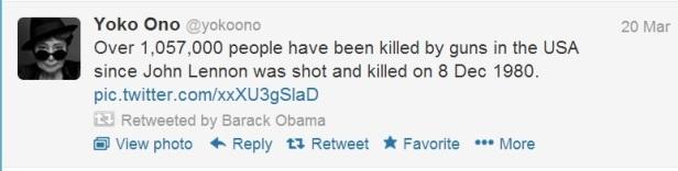 Barack Obama retweets image of Lennon's Bloody Glasses